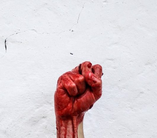 a bloody fist